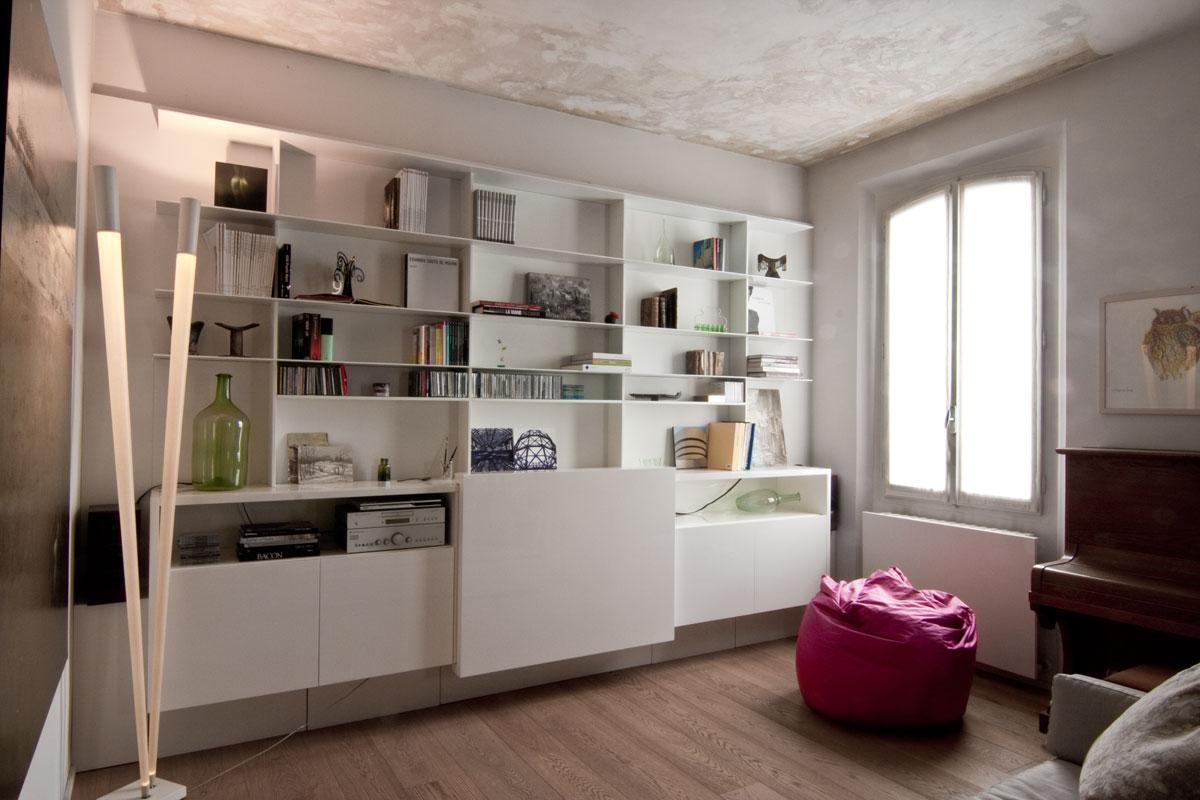 Fasci di luci sulle pareti come arredi - Mobili cartongesso soggiorno ...
